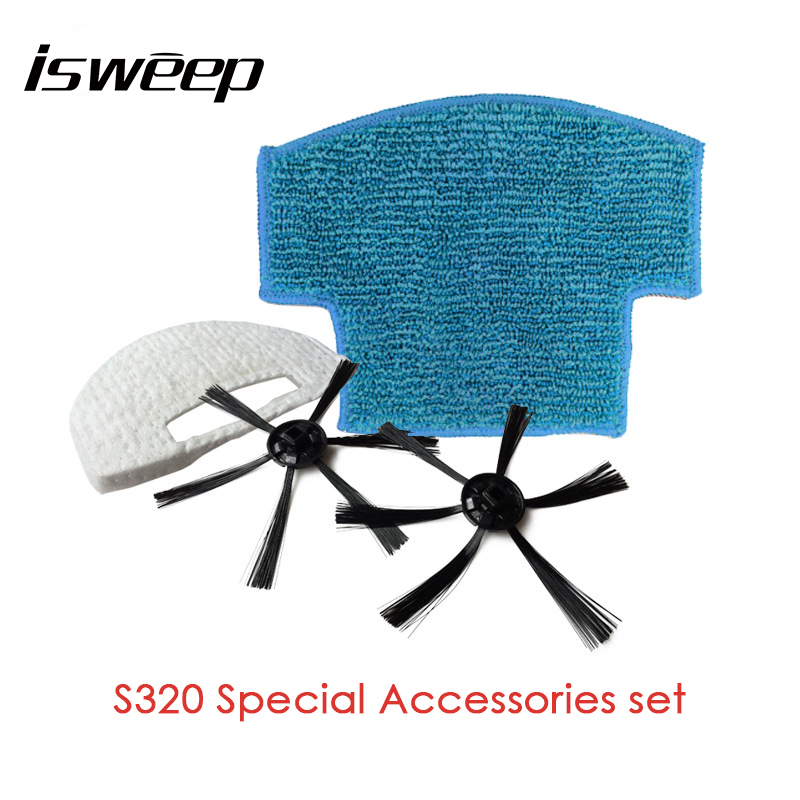 Isweep Accessories Parts Pack Sides Brush Mop Cloth For Robotic Vacuum Cleaner For S320
