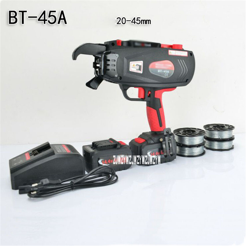 BT-45A Fully Automatic Tying Machine Handheld Rebar Strapping Machine Rechargeable Construction Tool 2/3 Turns 110V/220V 45mm цена