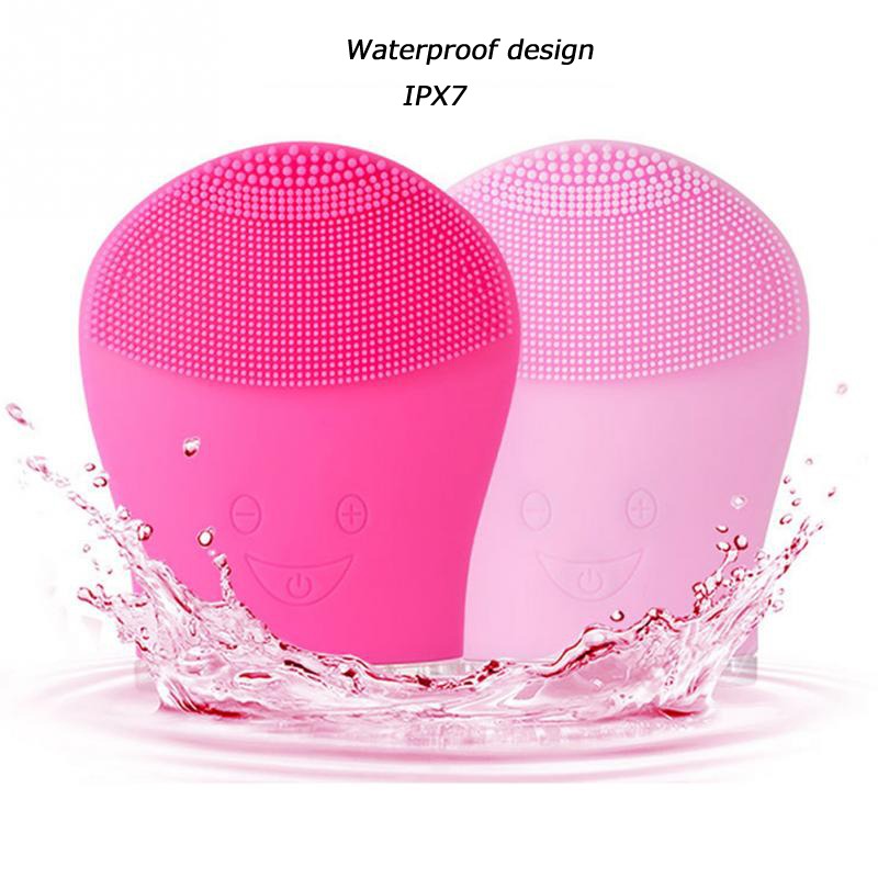 Ultrasonic Silicone Facial Cleansing Brush Rechargeable Mini Vibrating Massager Face Deep Cleanser Exfoliator Waterproof Device