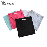 Plus Size S 6XL Female Plain Short Sleeve T Shirts For Women Round V Neck 100