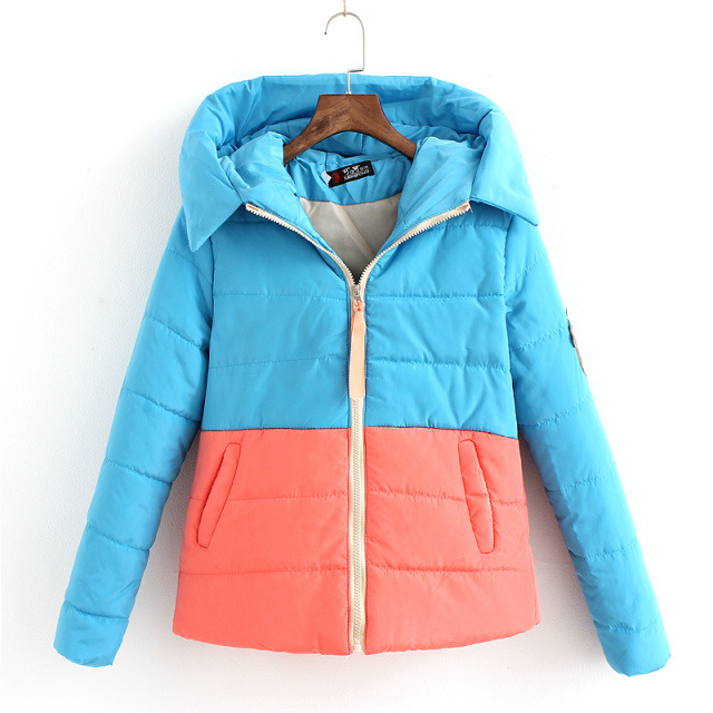Autumn Winters Hitting Scene Splicing Loose Hooded Cultivate One s Morality Short Cotton padded Jacket Female