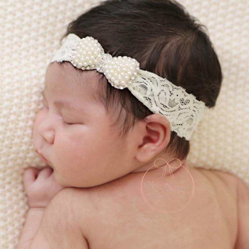 Hot Newborn Baby Girl Princess Bowknot Rhinestone Pearl Headband Hair Accessories #330