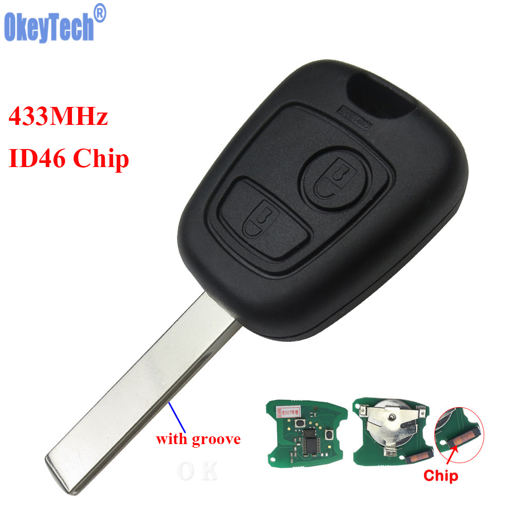 OkeyTech 433MHz ID46 Chip 2 Buttons Car Replacement Remote Key Fob For Citroen C1 C3 for Peugeot 307 Uncut Blank Blade Remtekey все цены