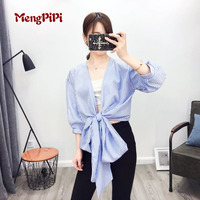 Women Blouse Knot Tie Crop Top 2017 Summer European Style Three Quarter Sleeve Blue White Strips