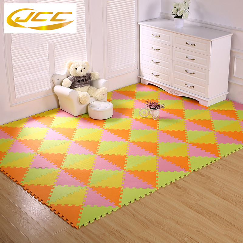 JCC 24-96pcs/lot! baby Foam play puzzle floor mat, triangle Interlocking Exercise Gym Rug carpet Protective Tile for kids sand shell starfish pattern floor area rug