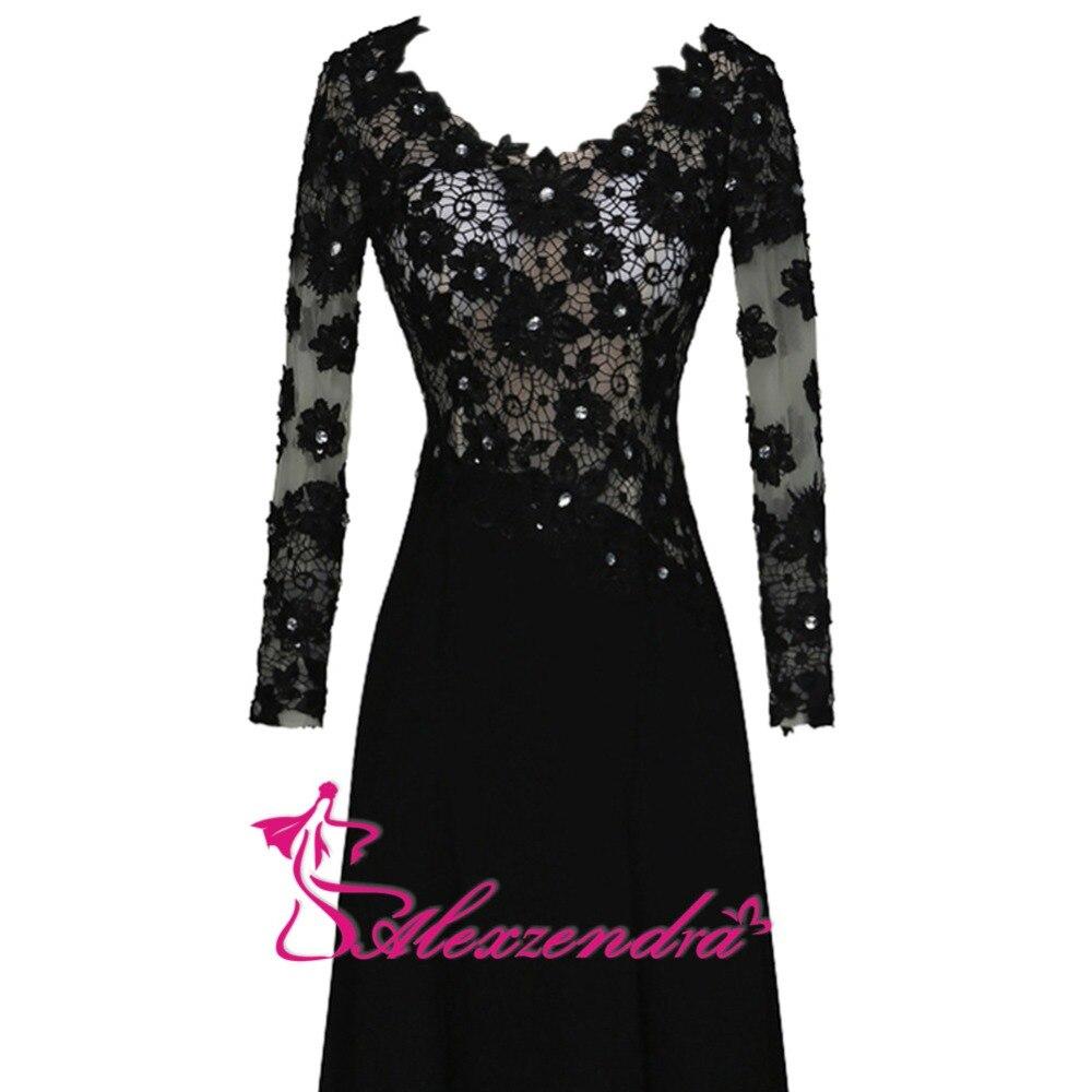 Alexzendra noir dentelle une ligne mère de mariée robe avec manches longues encolure dégagée longues robes de soirée grande taille - 3