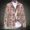 Nova chegada da primavera 2016 moda floral camisa impressão homens plus size 6xl homens casuais camisa artigo camisas hombre homens de vestuário / CS28