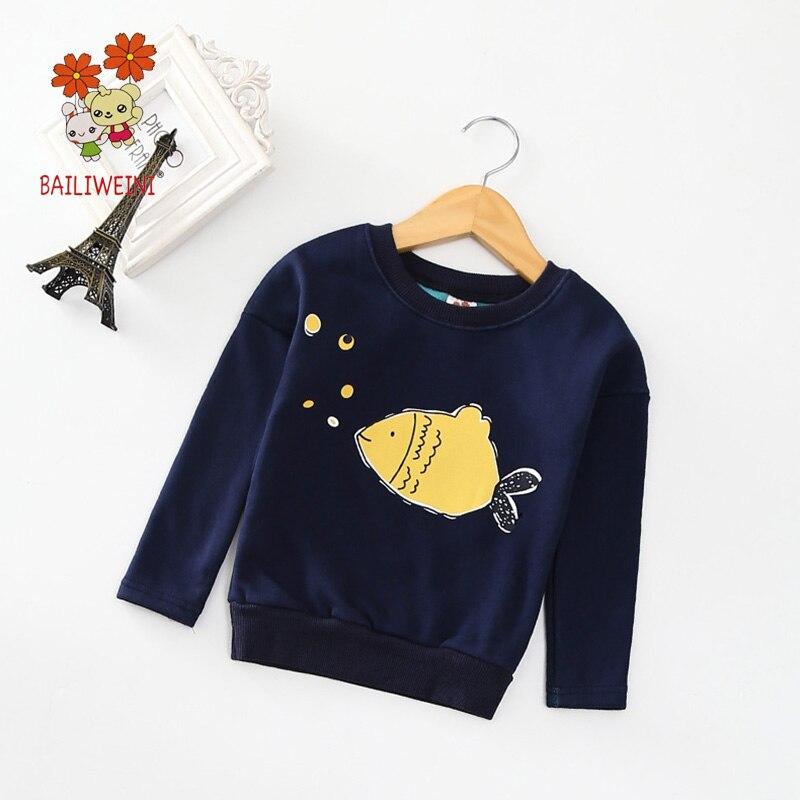 BAILIWEINI2018 autumn and winter new cartoon printed fish bat plus velvet sweater boys warm coat