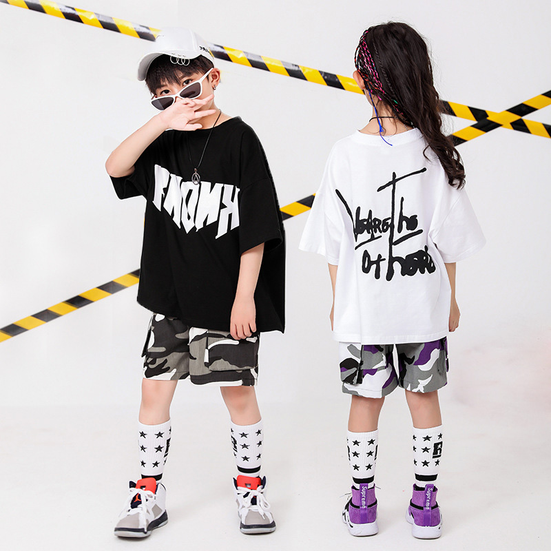 Children Hip Hop Clothing Oversized T Shirt Top Camouflage Gym Shorts For Girls Boys Jazz Dance Costume Ballroom Dancing Clothes