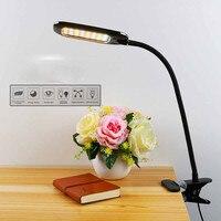 5W Eye Care LED Table Desk Clip Lamp Reading Book Light 3 Color Adjustable USB plug Dormitory Child Study Bedroom Bedside Lamp