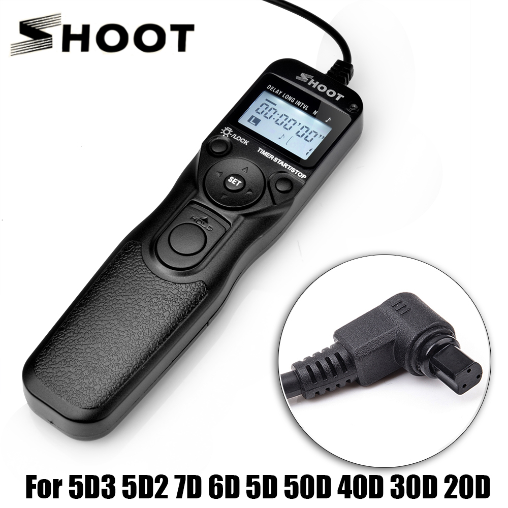 Shoot RS-80N3 Selfie LCD Timer Remote Control Shutter Release Cable For Canon 5D3 5D2 7D 6D 5D 50D 40D 30D 20D P0019375 стоимость