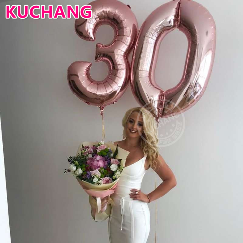 2pcs Lot 40inch Number 30 Foil Balloon Helium Rose Gold Silver Black Pink Blue Adult 30th Birthday Party Decorations Globos Orbz