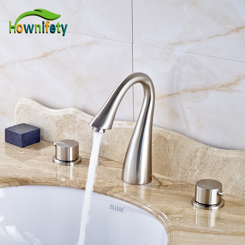 Nickel Brushed Swan Neck Style Bathroom Sink Faucet Double Handles Waterfall Spout Mixer Tap Solid Brass Deck Mount nickel brushed wall mounted solid brass bathroom sink tub faucet led waterfall spout mixer tap