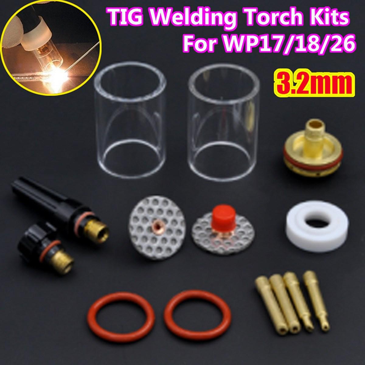 14PCS TIG Welding Torch Stubby Gas Lens Glass Pyrex Cup Kit 3.2mm 1/8 For WP17/18/26 Welding Series 1set 14pcs tig welding torch stubby gas lens glass pyrex cup kit 3 2mm 1 8 for wp17 18 26 welding series