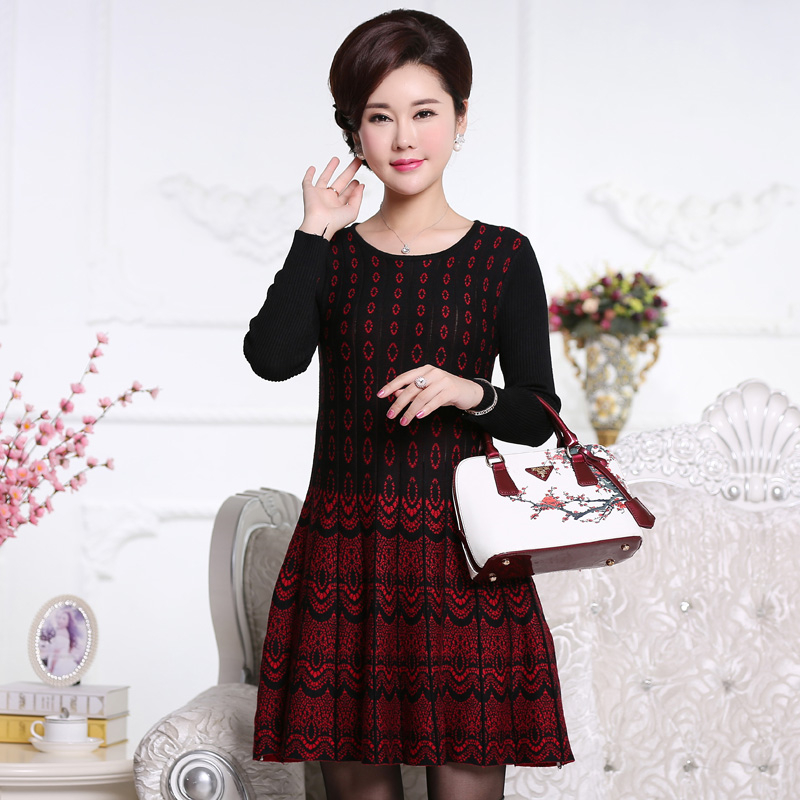 Spring Large Size middle-aged Women's long Pullover Sweaters Dress Autumn Winter bottoming Print Knitted Dress Plus Size A120