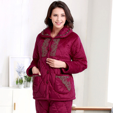 Winter New Arrival Sleepwear Female Cotton-padded Thickening Coral Fleece Thermal Set Lounge