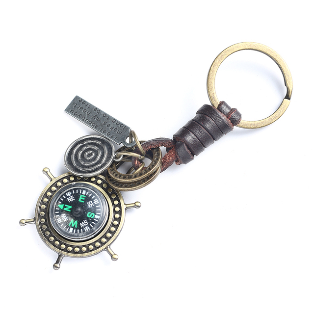 Genuine Leather Keychain Compass