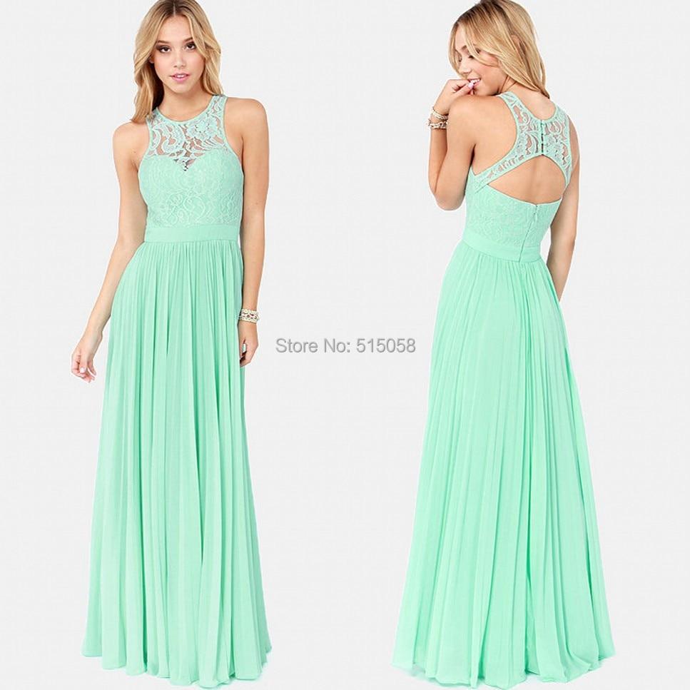 Elegant lace halter open back long chiffon bridesmaid for Mint color wedding dress