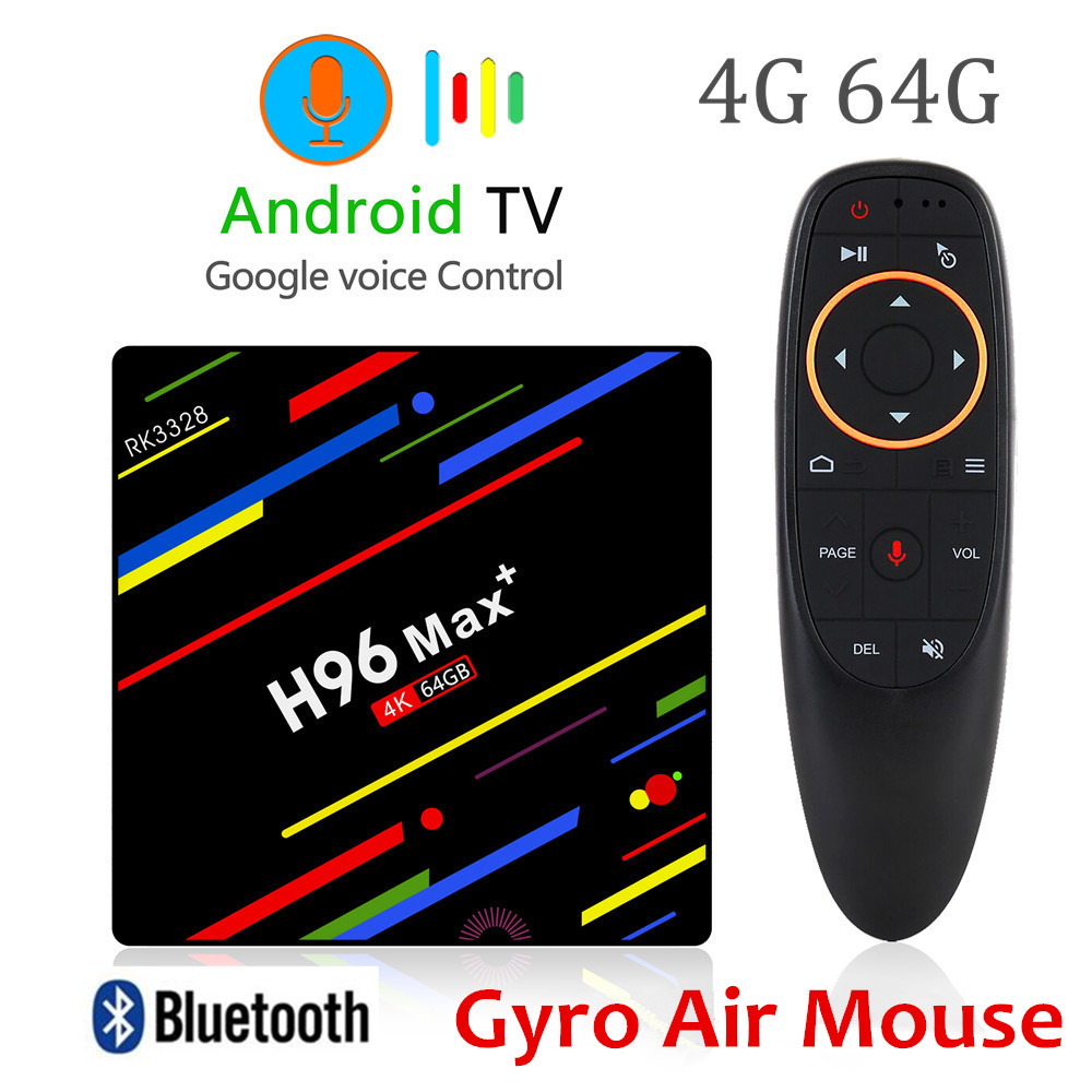 H96 MAX plus Android 8.1 TV Box 4GB RAM 64GB ROM Set Top Box RK3328 Quad core 2.4G/5G Wifi 4K Smart Media Player H96 pro max