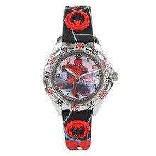 Дисней Дети бренд 30 м водонепроницаемый Мальчики девочки кварцевые часы Аниме Человек-Паук Мультфильм дети часы Кожа часы