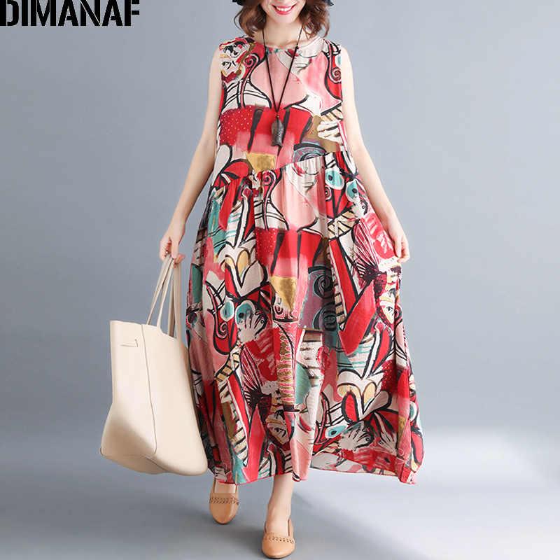 DIMANAF Women Summer Dress Plus Size Sleeveless Sundress Large Clothing  Femme Elegant Lady Vestido Print Casual fec39720dd52