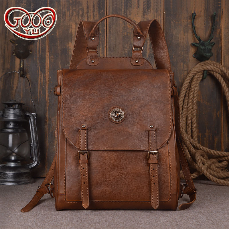 Italian imports of hand-stained vegetable tanned first layer of leather men's shoulder bag retro  computer travel backpac olg yat italian vegetable tanned cowhide handmade long section of hasp art wallet elegant retro handbag fiscal cloth