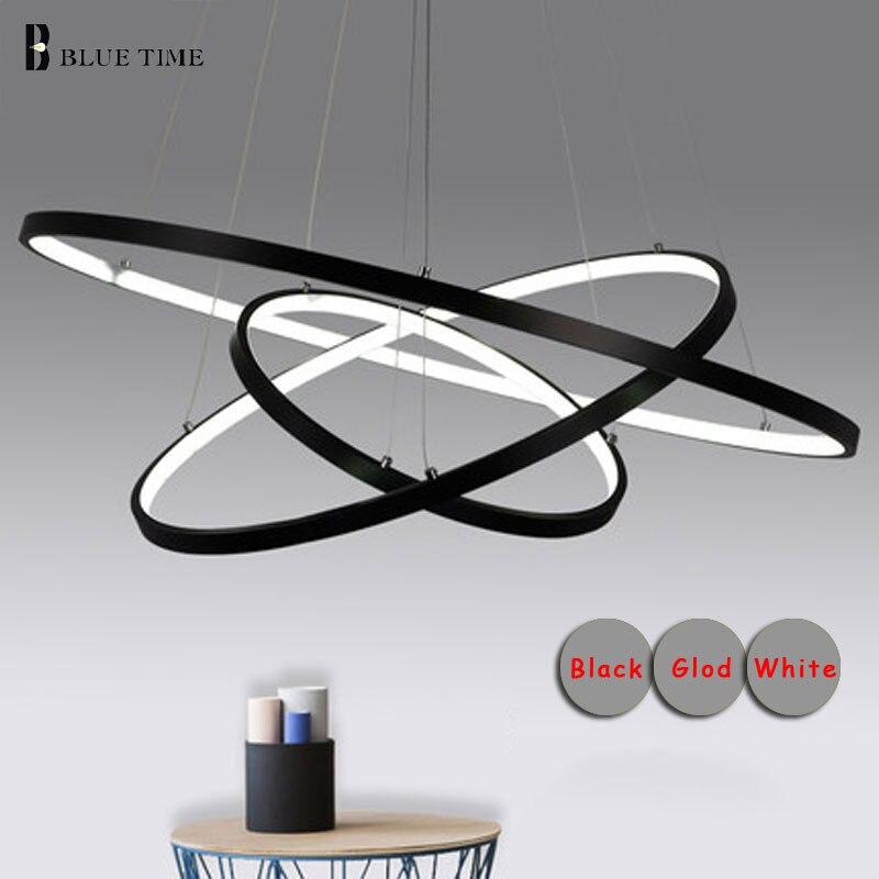 Круг Кольца светодиодный подвесной светильник столовая Кухня Освещение светильники Алюминий современный светодиодный подвесной светильн... ...
