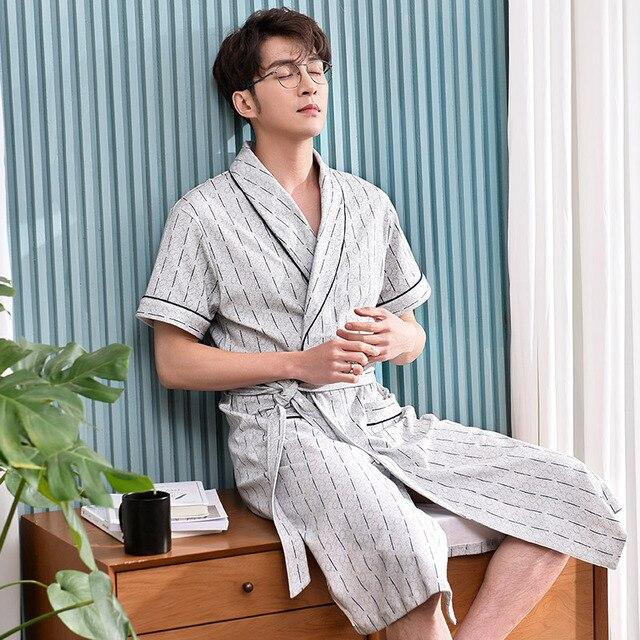 Lulu Ночная рубашка мужские летние хлопковые пижамы с коротким рукавом халат мужские длинные, мужские летние халат, мужской пижамы домашний костюм халат