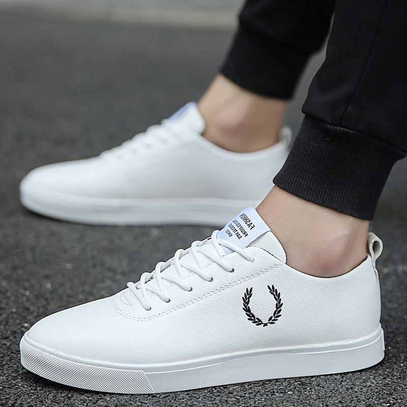 Men Shoes Spring Autumn Casual Leather Flat Shoes Lace-up Low Top White Male Sneakers tenis masculino adulto Shoes NanX45
