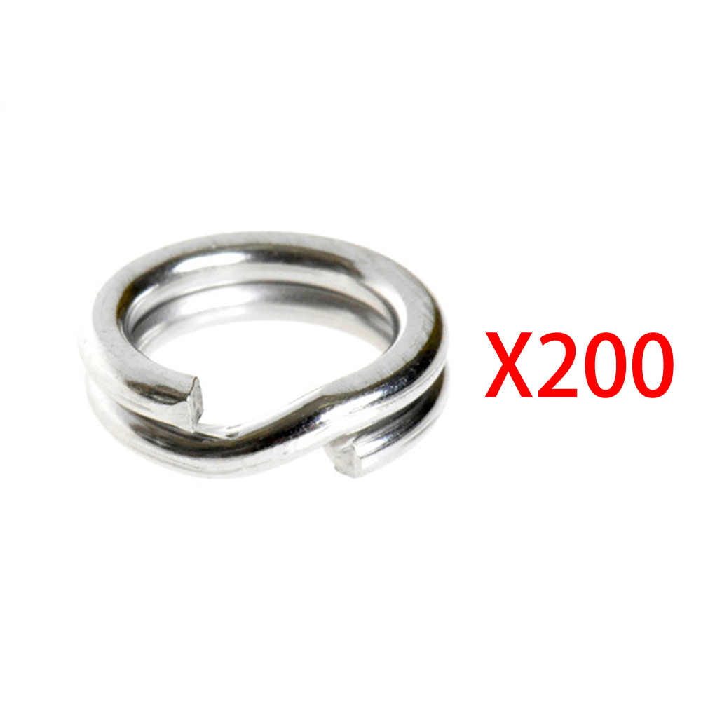 200Pcs Fishing Solid Stainless <font><b>Steel</b></font> Snap Split Ring Lure Tackle image