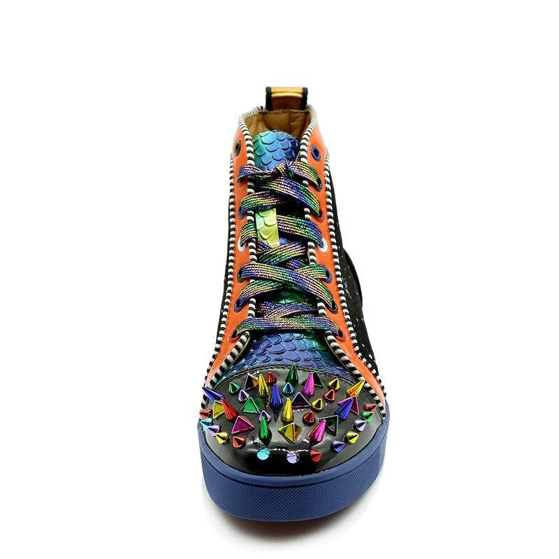 Mixte De Échelle up Baskets Qianruiti Top Couleur Multicolore Camping Plat Hommes Spike Dentelle Chaussures Noir High Strass Patchwork Poissons 0twq5wO