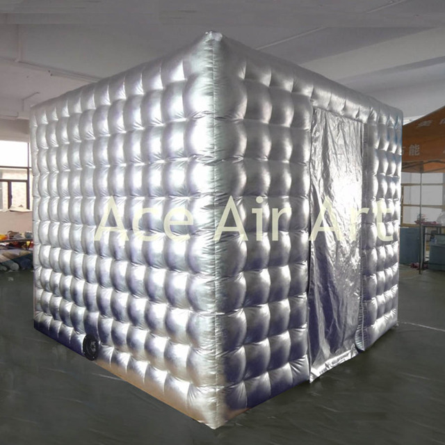 new design outdoor cube tent silvery inflatable photo booth