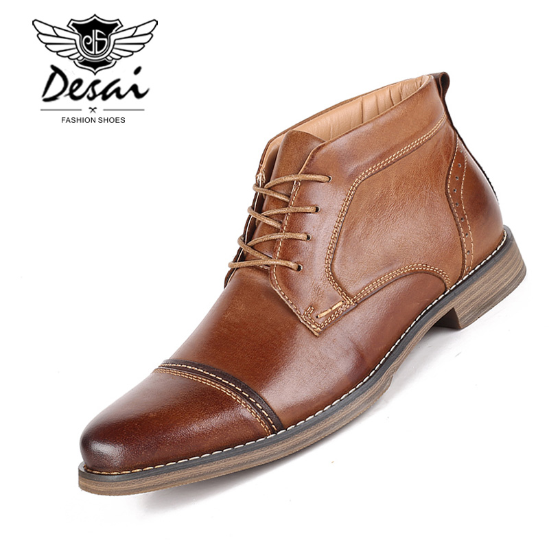DESAI Winter Shoes Men Genuine Leather High Boots Men s High Shoes Business Casual Lace up