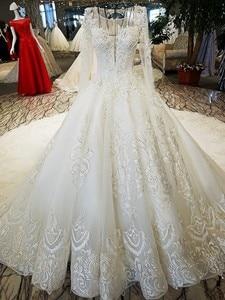 Image 3 - LS53710 ivory as picture แขนยาว o neck ชุดลูกไม้ลูกไม้ลูกไม้ขึ้นกลับมืองานแต่งงาน vestido de noiva รูปภาพจริง
