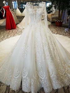 Image 3 - LS53710 ivory as the picture full sleeves o neck ball gown lace up back hand work wedding dresses vestido de noiva real photos