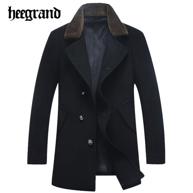Hee grand homem quente grosso turn-down collar casaco de lã & blends magro casacos de lã dos homens de negócios de alta qualidade mwn236