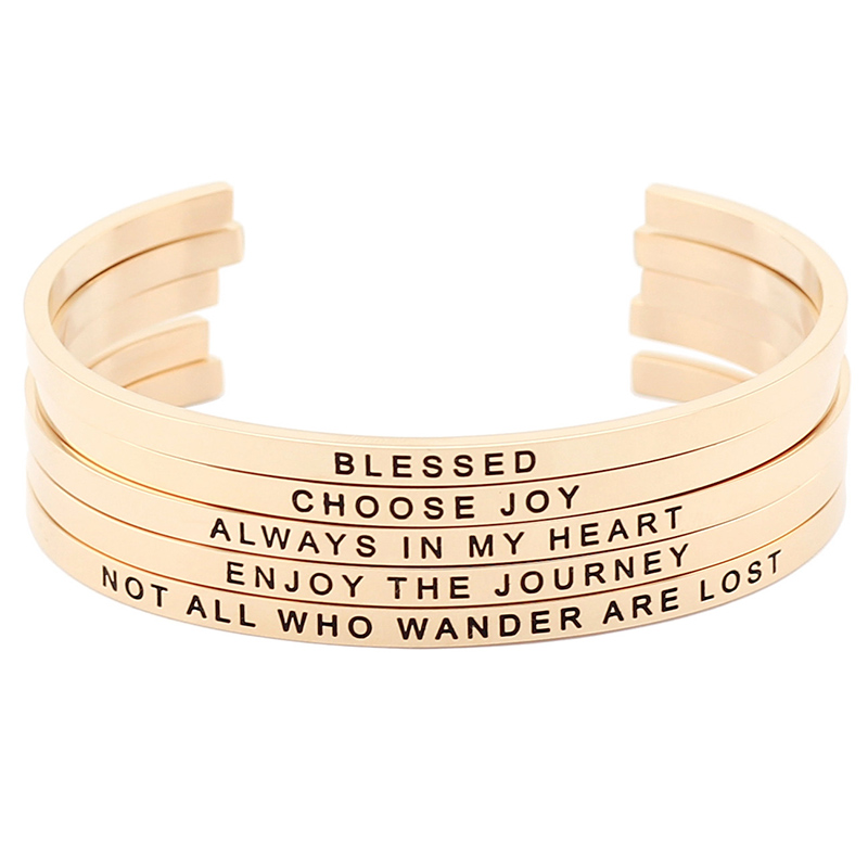 все цены на New arrival! Rose Gold Stainless Steel Engraved Positive Inspirational Quote Cuff Mantra Bracelet Bangle for Women