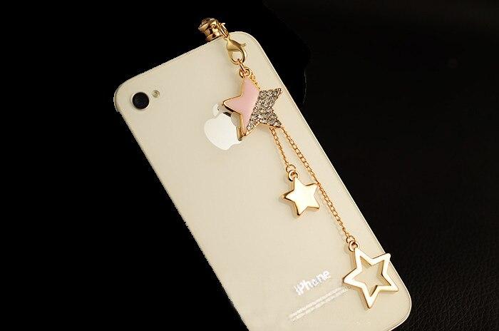Estrella colgante cadena de accesorios para teléfonos móviles enchufe a prueba d