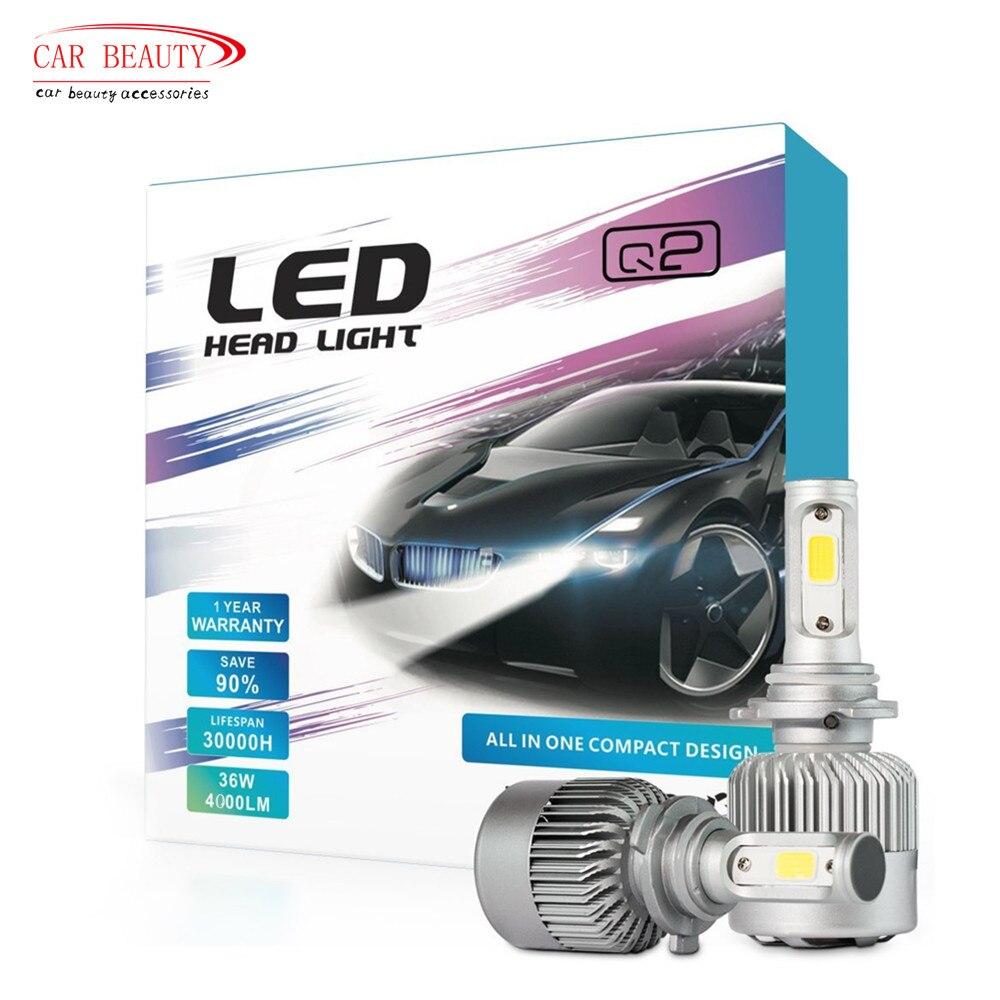2017 New H4 H7 H11 H1 H3 9005 9006 Car Led Headlight Bulb 8000lm 6000k 72w Automobiles Led