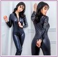 2016 Hot Sexy Negro Catwomen Mono Catsuit Disfraces Señora Clubwear Cuerpo Trajes de Imitación de Cuero Con Cremallera Mujeres Traje