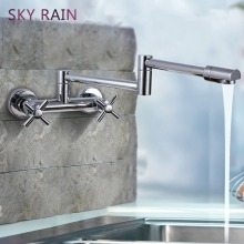 SKY RAIN Europe Style Single Handle Brass Chrome Bathroom Faucet Wall Mounted Water Mixer Tap
