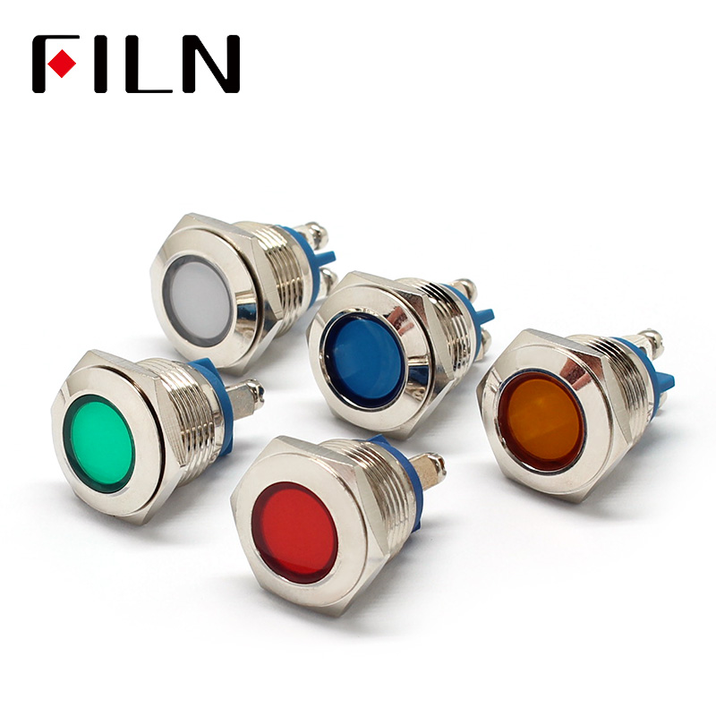 16mm Dia 12v Metal LED Pilot Panel Dash Signal Indicator Warning Light With Screw Terminal Brass Chrome Finish Car Boat Marine