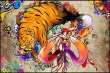 Snyp anime girl animal colorful tiger characters YS63 living room home wall modern art decor wood frame poster