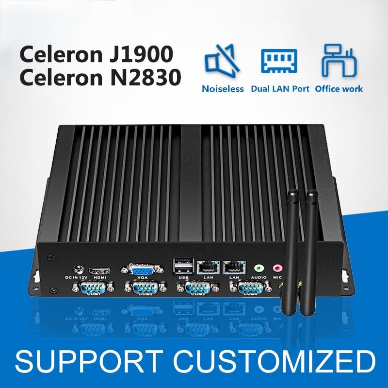 4 COM Dual LAN Mini Computer Celeron J1900 N2830 Mini PC fanless Industrial Computer Windows linux OS for factort business