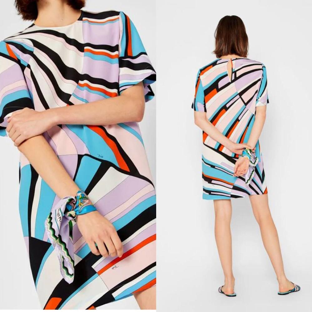 bright colored and beautiful Short sleeve elastic knitted slim silk jersey dress new