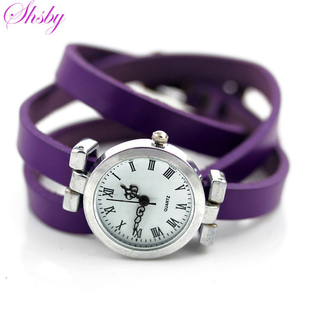 shsby New fashion hot-selling women's long leather female watch ROMA vintage wat