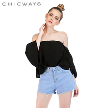 b688e44fbe7ad Chicways off the shoulder short sleeve crop top Puff sleeve Shirred Black Sexy  Women Summer Tops · 2 Colors Available