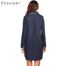 Ekouaer Women Sleepwear Casual Nightdress Button-down Collar Long Sleeve Nightdress Contrast Color Nightgown Home Dress