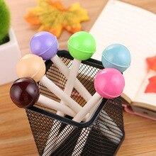 цена 6pc/set, Cute Creative Simulation Lollipop Gel Pen Black Ink 0.5mm Children Gift Stationery Pen School And Office Supplies онлайн в 2017 году