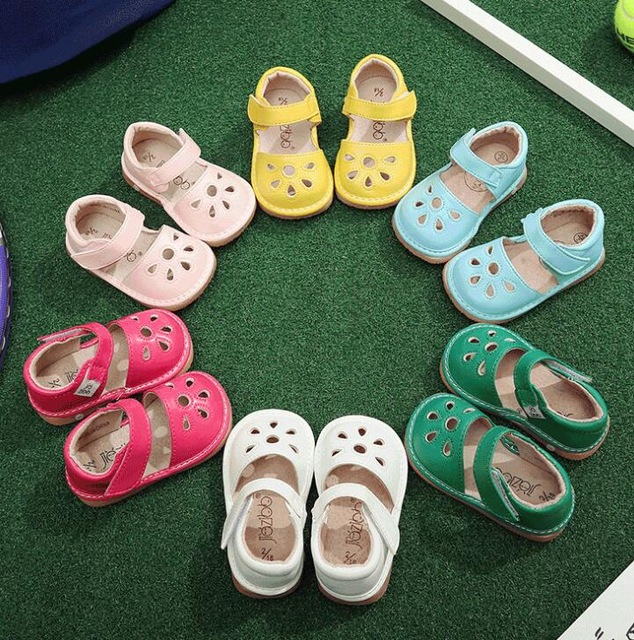 2019 New Designs PU Leather Summer Baby Shoes Solf Sole Infant Toddler Moccasins Cute Hollow Kids Boys Girls Sound Shoes